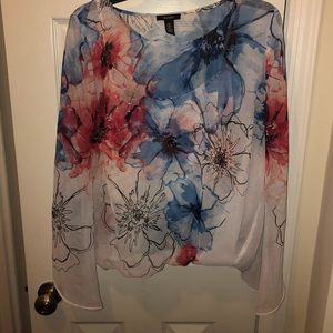 Gorgeous floral top with rhinestone embellishment